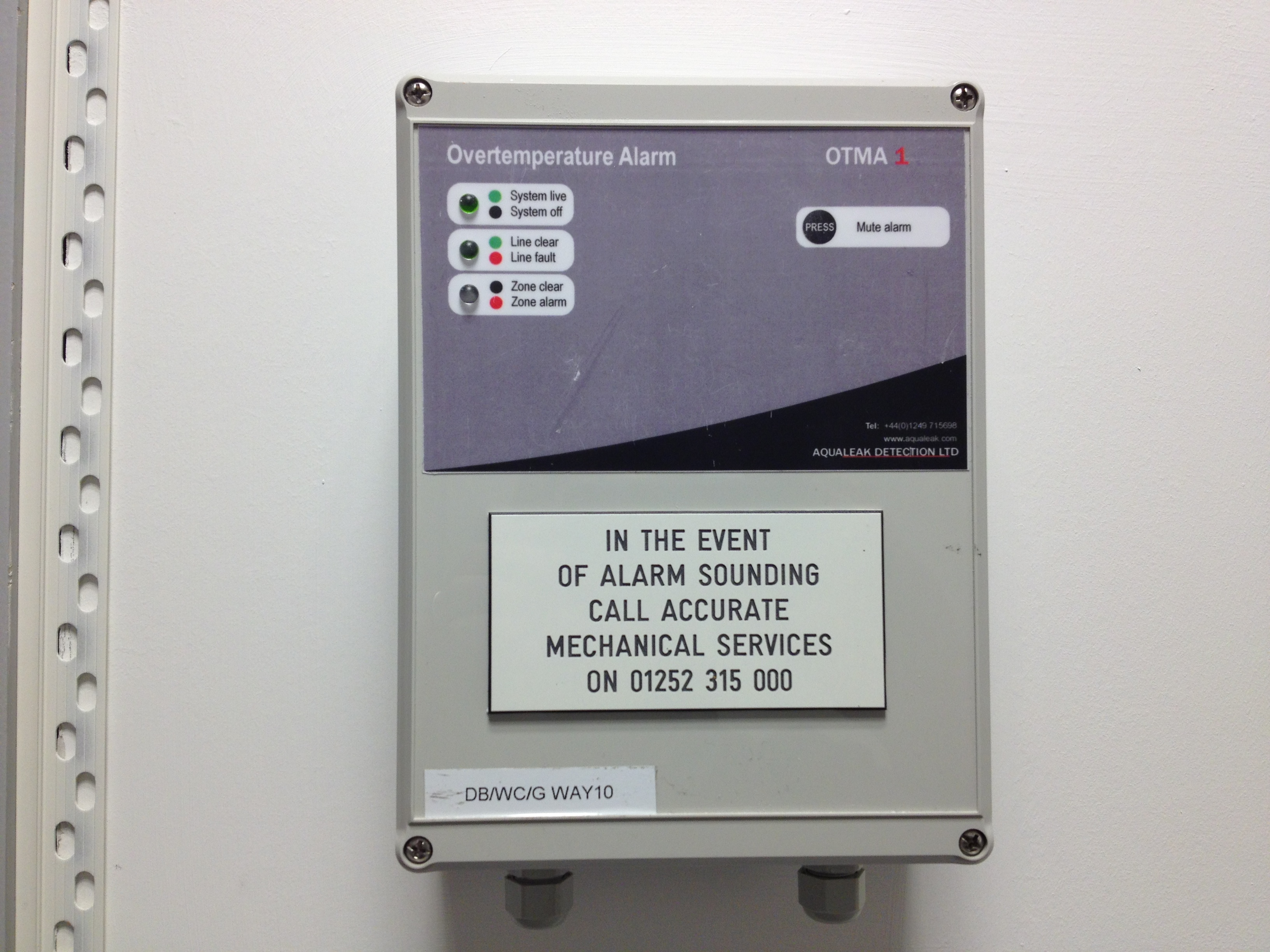 Over temperature alarm panel outside the server room